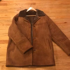 Aston New York Leather suede shearling jacket Sz M